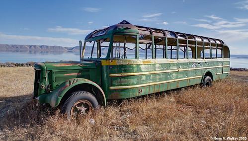 bus abandoned derelict whitetruck superior bearlake fishhaven idaho green rustyandcrusty
