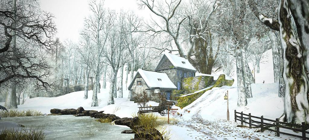 Snowed Village on the Hill