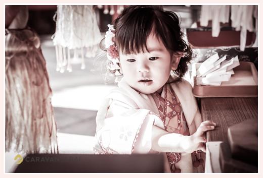 七五三 数えで3歳の女の子 モノクロ写真