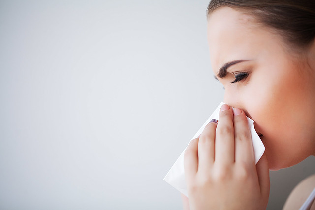 Flu and Sick Woman. Sick Woman Using Paper Tissue, Head Cold Problem
