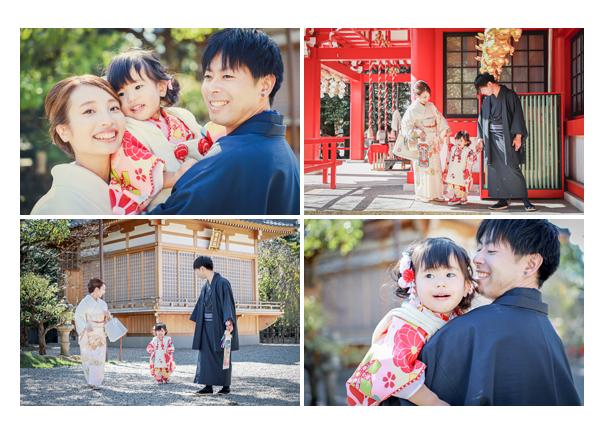 市原稲荷神社で七五三のロケーションフォト 家族の写真
