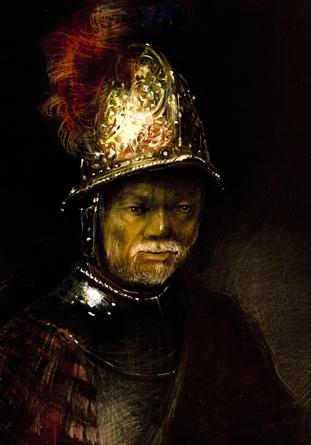 My version. A Man In the Golden Helmet. Polychromos Pencil study on black card by jmsw. Of a painting by Rembrandt. Just for Fun. Last stage.