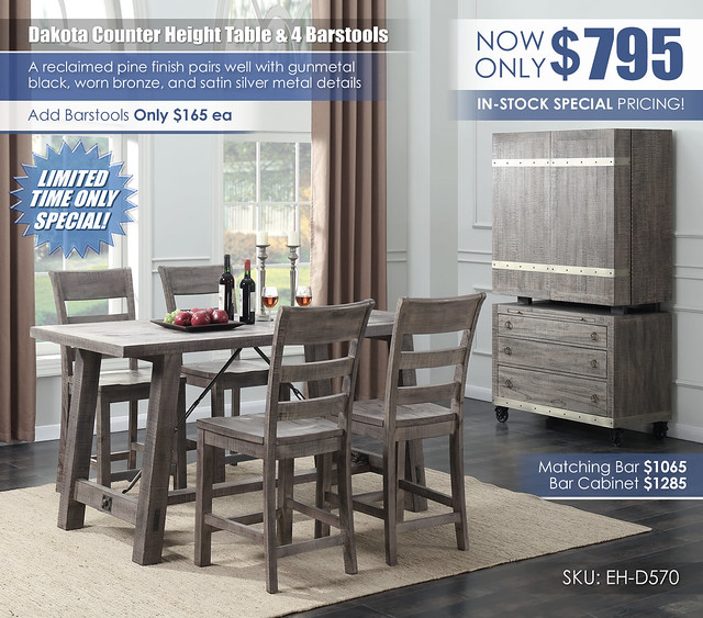 Dakota Counter Height Dining Set_D570-24_Clearance