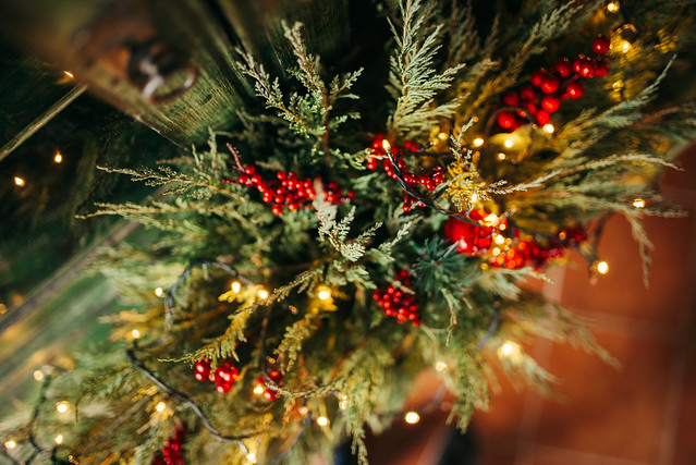 Close-up of a decorated christmas tree.