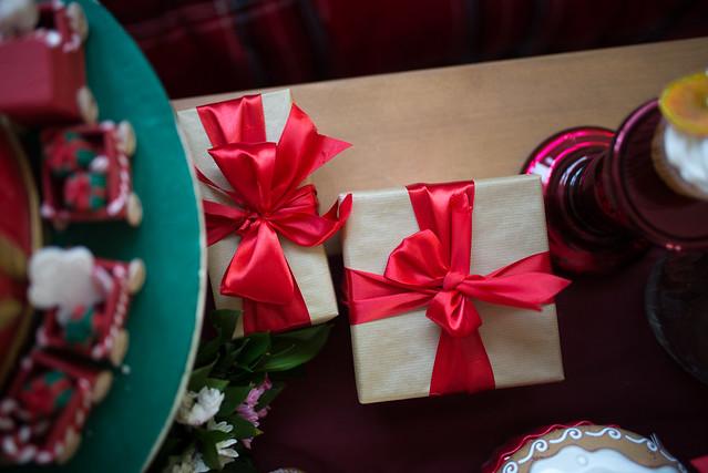 Christmas presents on the table.