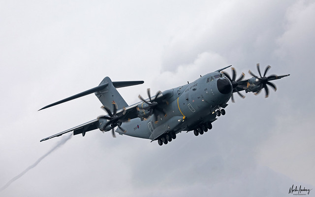Royal Air Force Airbus Military A400M Atlas C1 ZM406 on finals for RAF Gibraltar/LXGB
