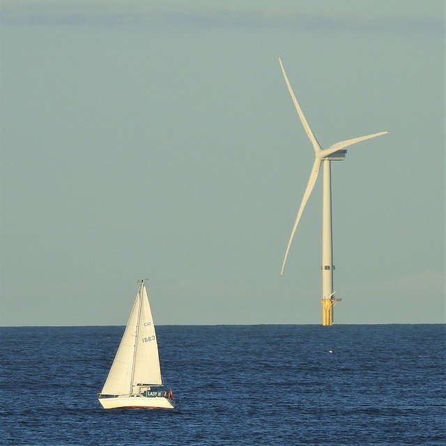 'Lady H' Yacht and Wind Turbine Off St. Mary's Island
