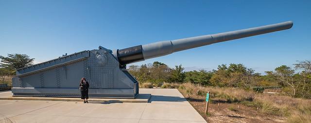 "With the 16"" gun from the Battleship Missouri"