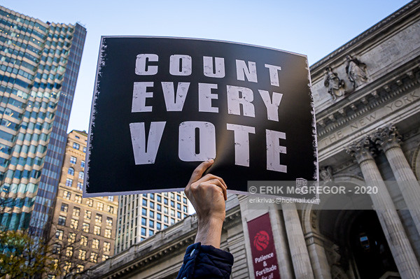 NYC Groups March To Honor The Democratic Process And To Demand Every Vote Is Counted