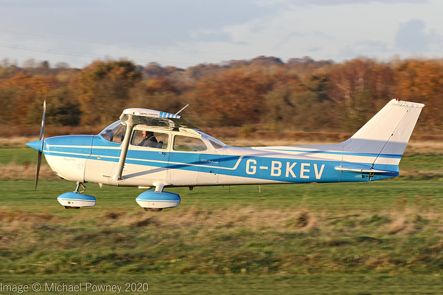 G-BKEV - 1976 Reims built Cessna 172M Skyhawk, rolling for departure on Runway 26L at Barton