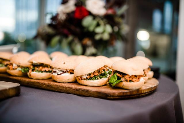 Pork Mini Burgers Served On Wooden Plate