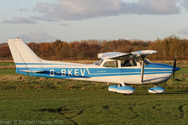 G-BKEV - 1976 Reims built Cessna 172M Skyhawk, taxiing for departure at Barton