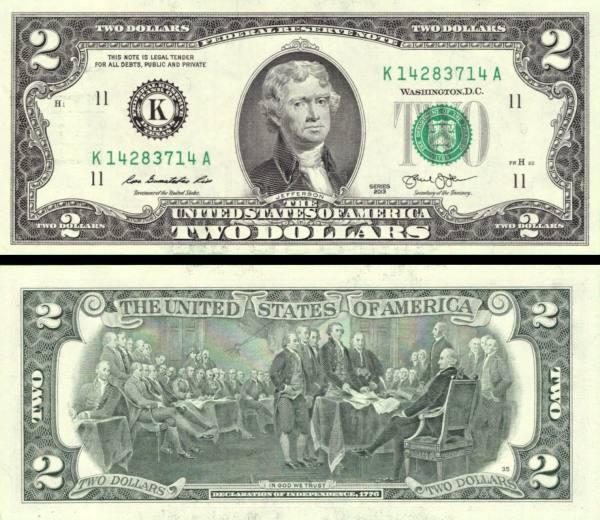 2 americké doláre USA 2013 K, Jefferson P538aK