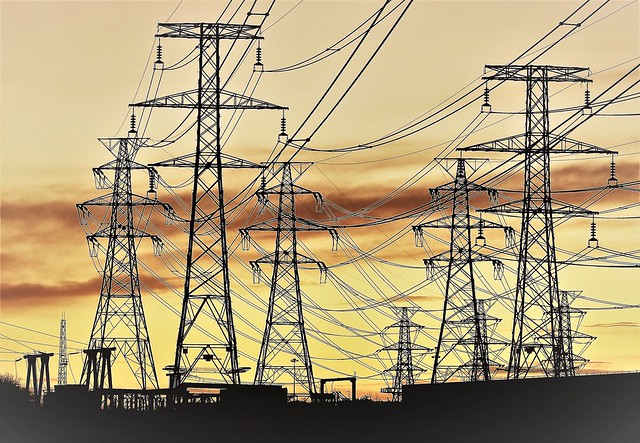 Yellow Sky Sunset - Lynemouth Power Station Pylons