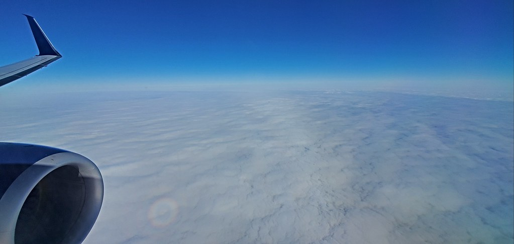 Flying over a blanket of clouds