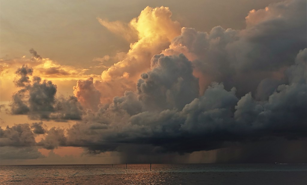Storm clouds rolling in at the Maldives