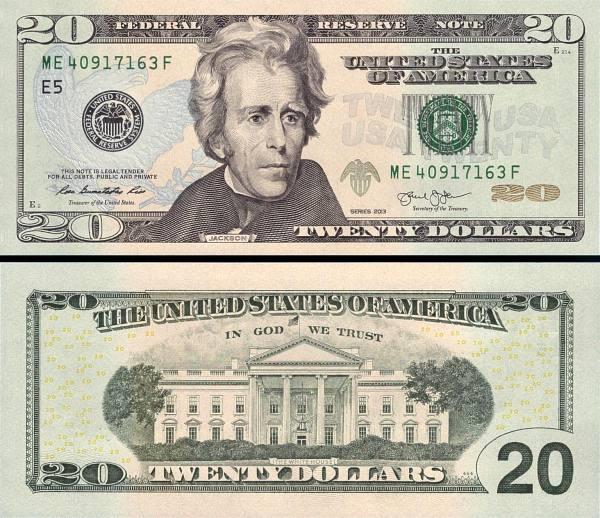 20 amerických dolárov USA 2013 D, Jackson P541D