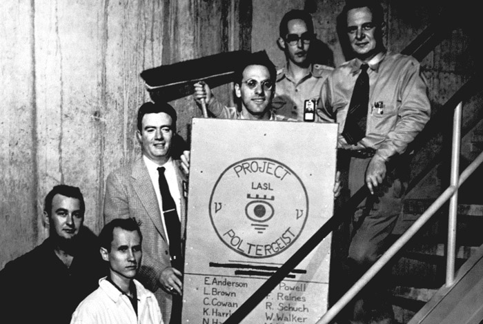 The Los Alamos team working at Hanford circa 1951 (left to right, back row) F. Newton Hayes, Captain W. A. Walker, T. J. White, Fred Reines, E. C. Anderson, Clyde Cowan Jr. (Not all team members pictured)
