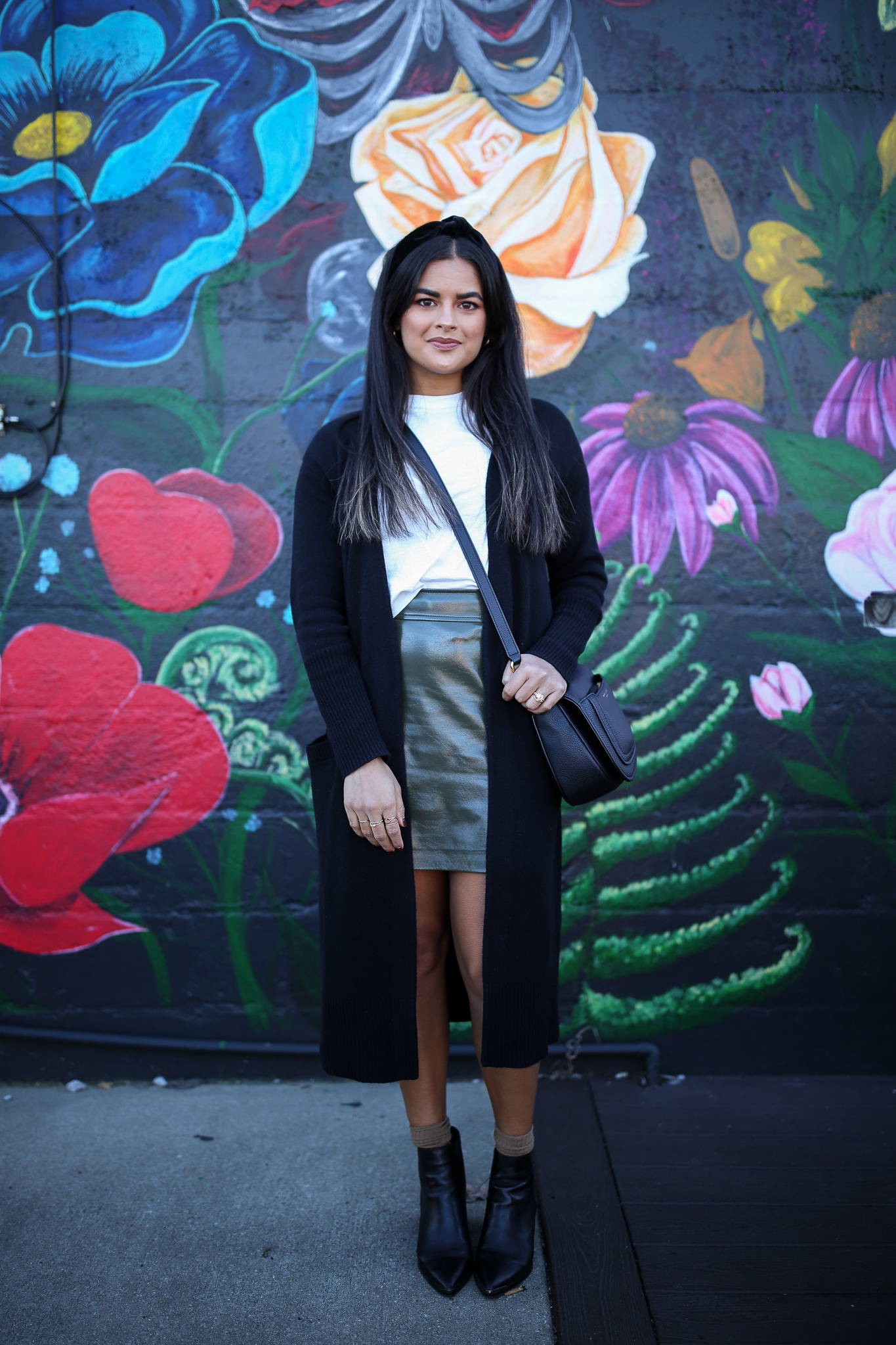Priya the Blog, Nashville fashion blog, Nashville fashion blogger, Nashville style blog, Nashville style blogger, Nordstrom Sale, black booties, cardigan coat, black cardigan coat, Nordstrom Anniversary Sale, green leather miniskirt, green leather skirt, how to style a green leather miniskirt, Tony Bianco booties, fall fashion, fall style