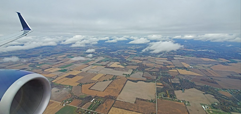 Flying over the Midwest United States