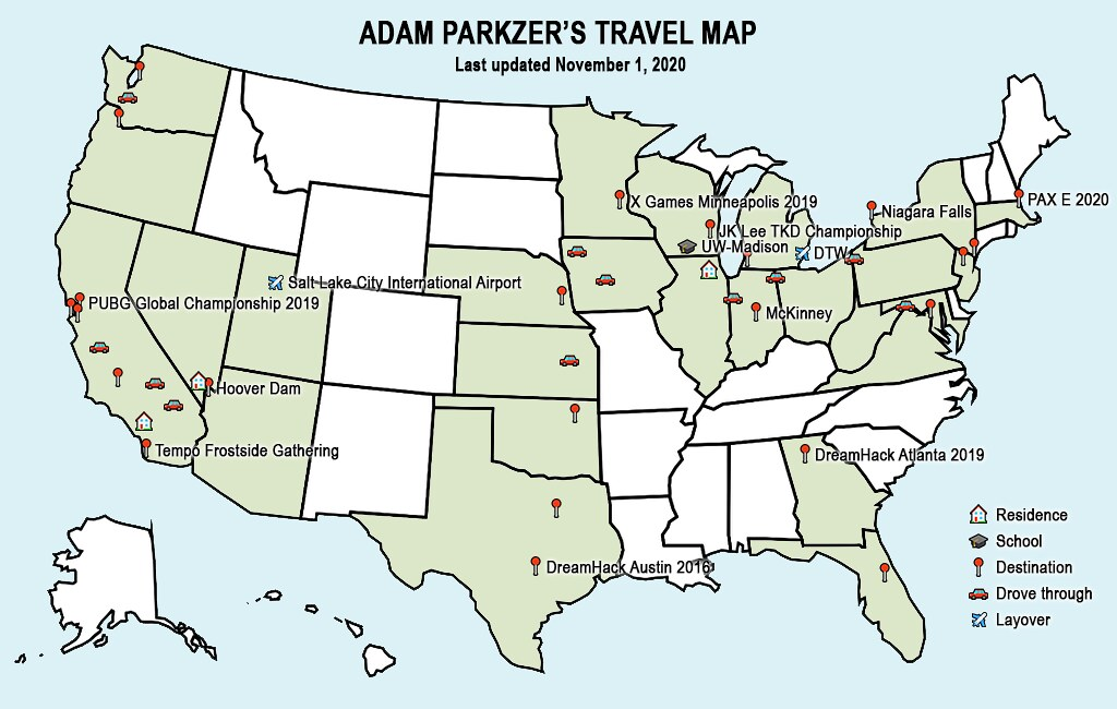 Adam Parkzer's travel map, last updated November 1, 2020