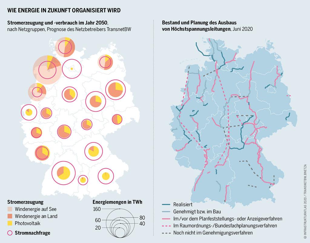Infrastrukturatlas: Wie Energie in Zukunft organisiert wird. Stromerzeugung und -verbrauch im Jahr 2015
