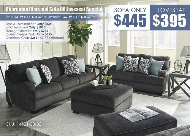Charenton Charcoal Sofa OR Loveseat_14101-MOOD-A