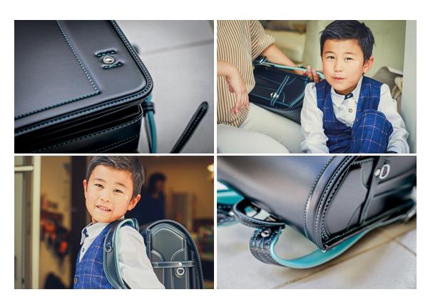 土屋鞄のランドセル 男の子用 黒の革に水色のステッチ