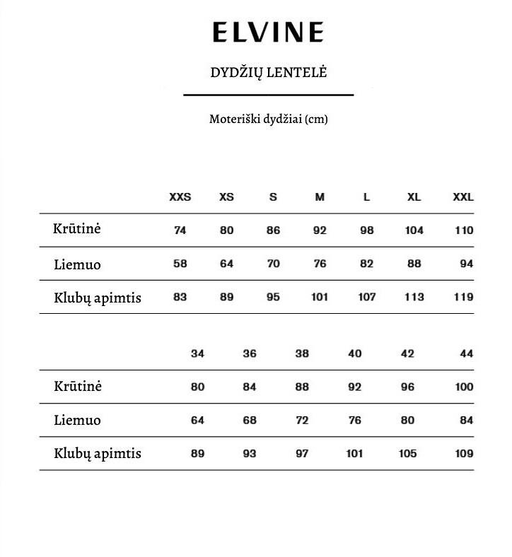 Elvine dydžių lentelė
