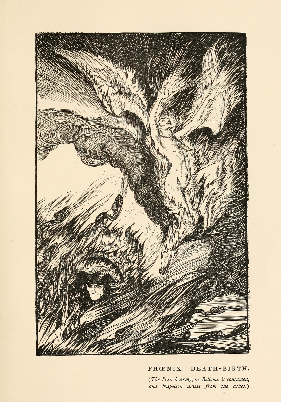 "Edmund Joseph Sullivan - Phoenix Death-Birth, illustration from Thomas Carlyle's ""The French Revolution"" 1910"