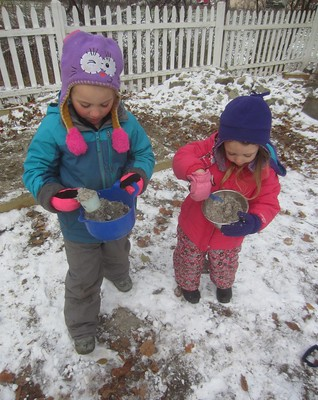 mixing sand and snow