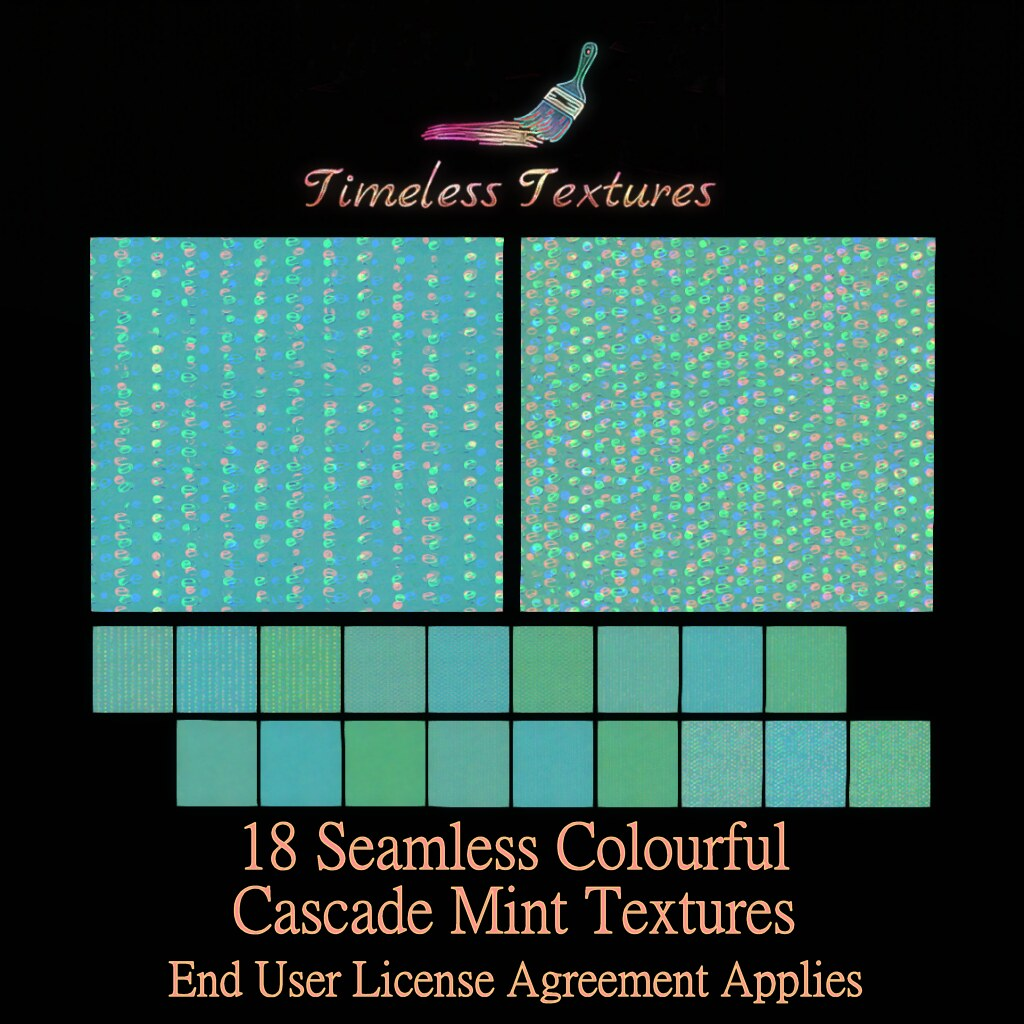 TT 18 Seamless Colourful Cascade Mint Timeless Textures ++