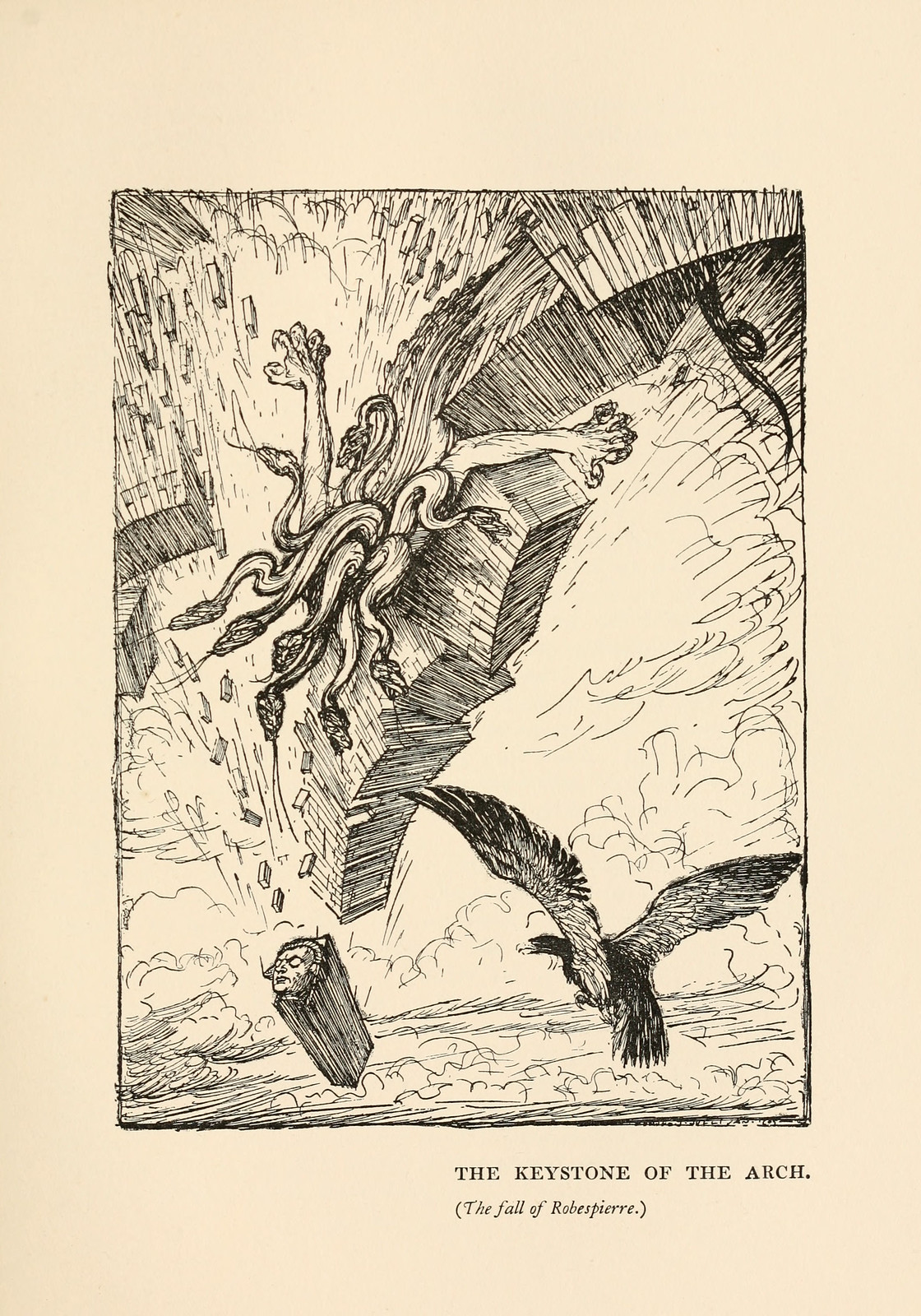 "Edmund Joseph Sullivan - The Keystone of the Arch, illustration from Thomas Carlyle's ""The French Revolution"" 1910"