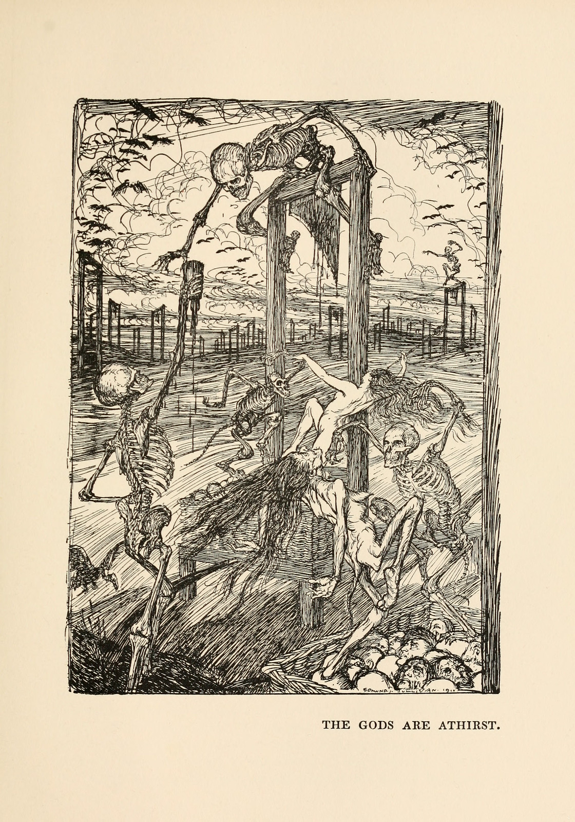 "Edmund Joseph Sullivan - The Gods Are Athirst, illustration from Thomas Carlyle's ""The French Revolution"" 1910"