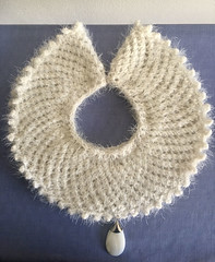 JUSTICE (RBG tribute knit acrylic angora collar with shell drop pendant) by Kelly MacConomy