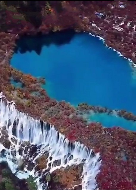 中国、四川、九寨沟、诺日朗瀑布Nuorilang waterfall of Jiuzhaigou National Park in China's Sichuan province