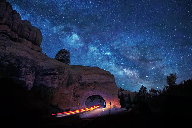 Car going through the Red Canyon Tunnel on Utah State Route 12 near Bryce Canyon