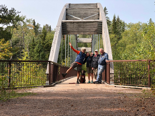 Ouimet Canyon PP - the four of us on the bridge
