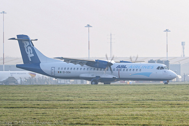 EI-SOA - 1991 build ATR 72-202F, arriving back at a foggy East Midlands having earlier diverted to Stansted