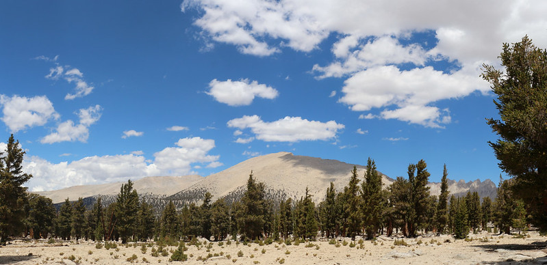 Panorama view north with Joe Devel Peak (13327 ft elev) from the Pacific Crest Trail