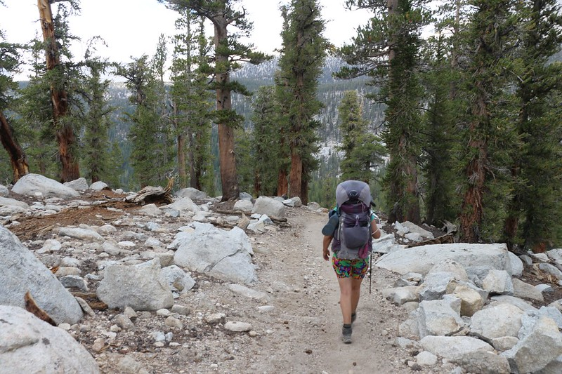 The Pacific Crest Trail begins to drop down into the Siberian Pass Creek valley on its way to Rock Creek