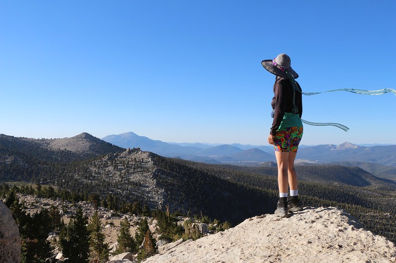 Vicki looking south toward Olancha Peak from the Pacific Crest Trail north of Chicken Spring Lake