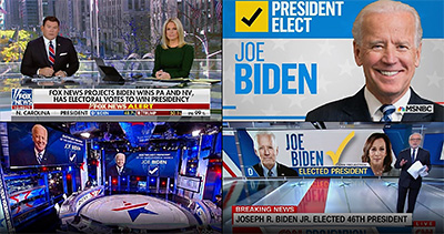 Major US TV networks calling the US Elections 2020 for Joe Biden. Image source: BBC video screen grab.