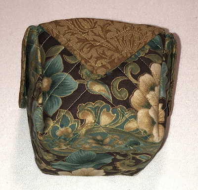 green and gold fabric box