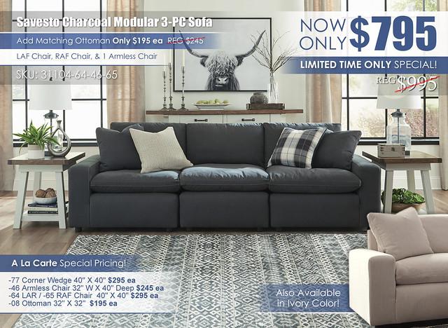 Savesto Charcoal 3-Piece Modular Sofa_31104-64-46-65-PILLOW_2020Update