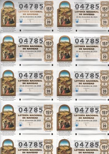 Pliego de Décimos de la Lotería del 2020