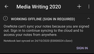 OneNote needs authentication