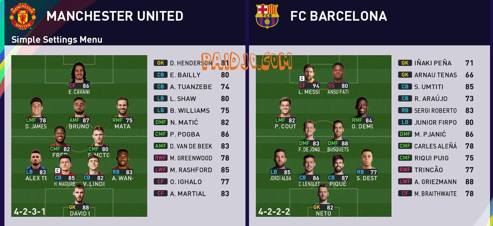 Team Match PES 2021 | PAIDJO.COM