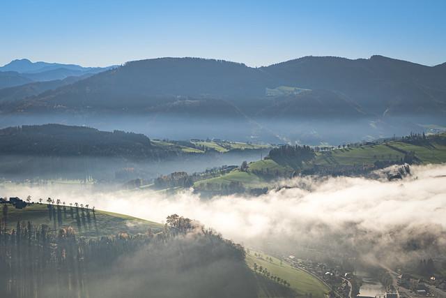 sunny day above the fog