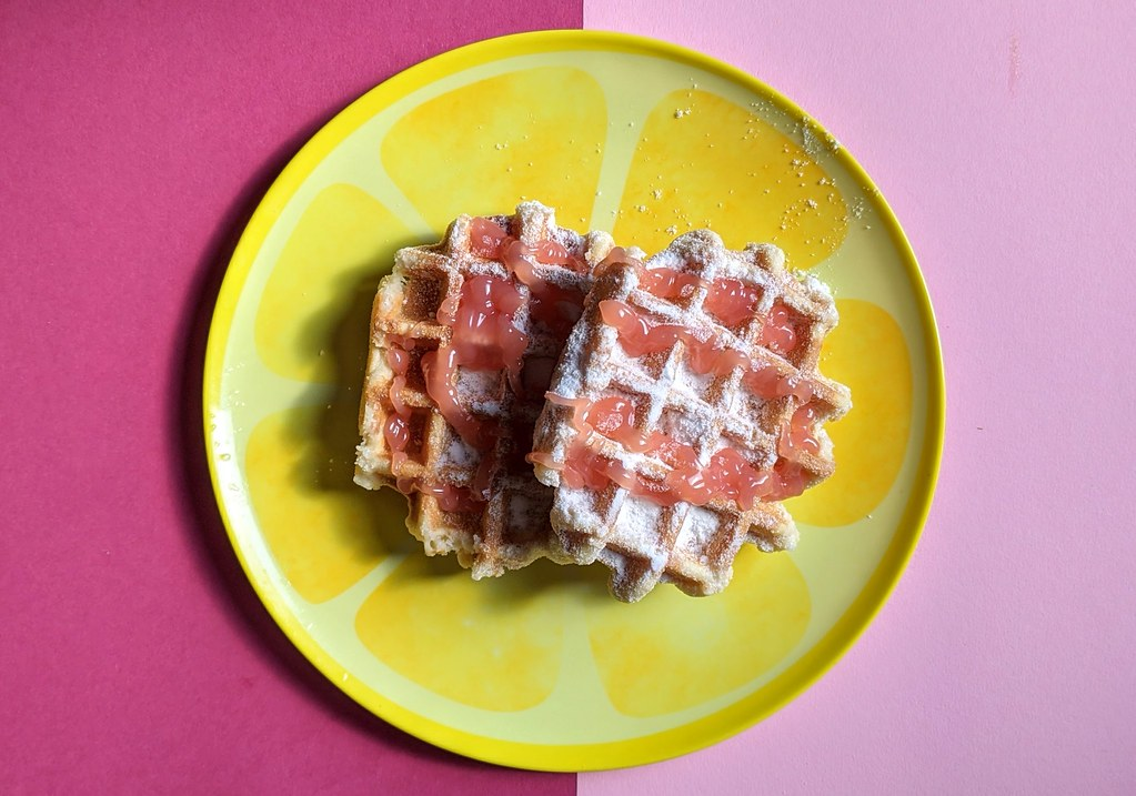 Belgian Waffles with Percy Pig Syrup